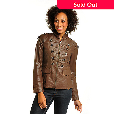 702-243 - Geneology Zippered Front Stand Collar Washable Leather Military Jacket