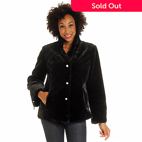 702-258 - Pamela McCoy Quilted Yoke Rhinestone Buttoned Beaver Faux Fur Jacket