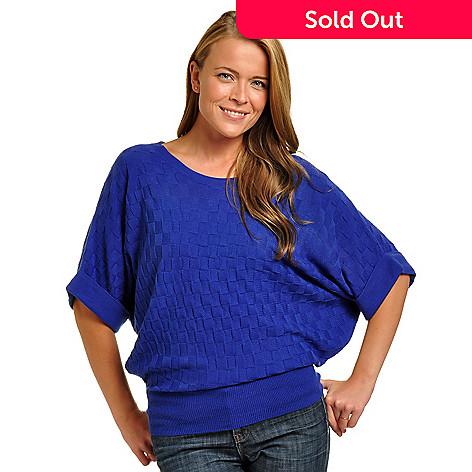 702-299 - Geneology Dolman Sleeve Wide Neck Textured Knit Sweater