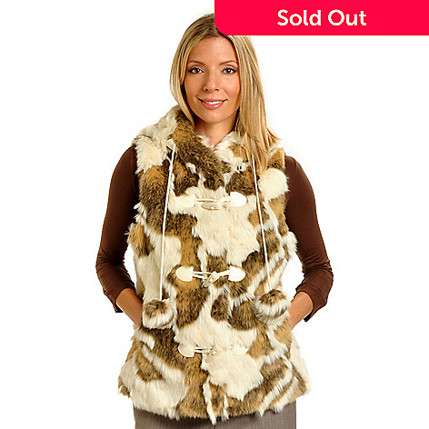 702-317 - Pamela McCoy Toggle Closure Hooded Faux Fur Vest