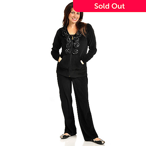 702-322 - OSO Casuals™ Rosette Trimmed Zip Front Velour Jacket & Pull-On Pant Set