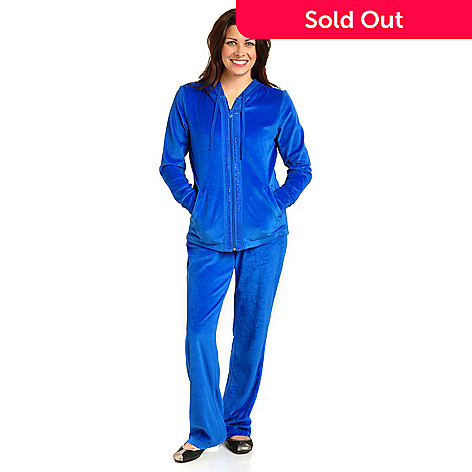702-341 - Glitterscape® Rhinestone Detail Zip Front Velour Hoodie & Pant Set