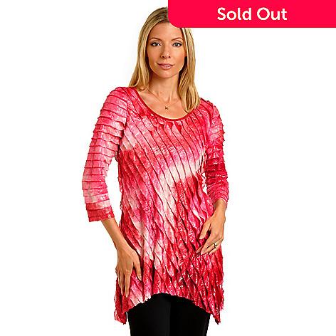702-366 - Glitterscape 3/4 Sleeved Hi-Lo Hem Diagonal Ruffled Knit Tunic