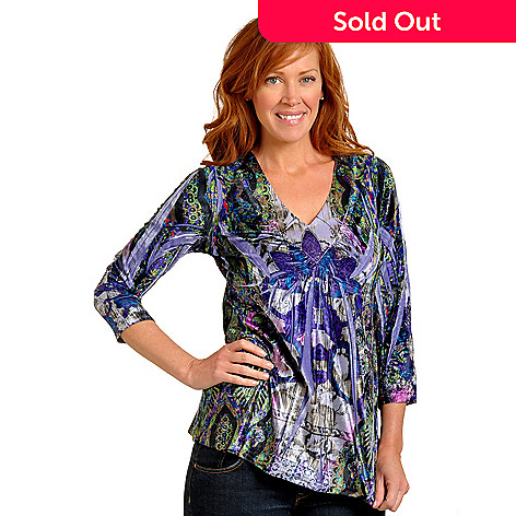 702-376 - One World 3/4 Sleeve Lace Applique Printed Stretch Velvet Top