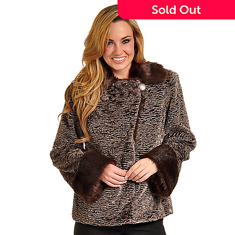 702-389 - Pamela McCoy Raglan Sleeved Persian Lamb Faux Fur Jacket