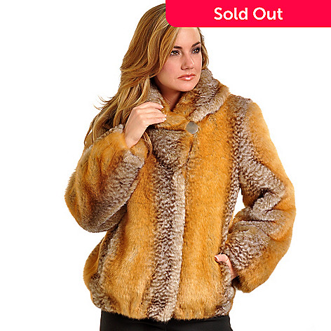 702-391 - Pamela McCoy Shawl Collared Red Fox Faux Fur Jacket
