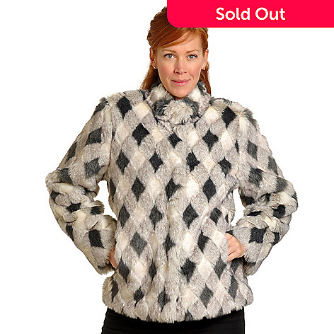702-392 - Pamela McCoy Diamond Pattern Mandarin Collar Faux Fur Jacket