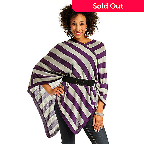 702-417 - Geneology Stripe Knit Poncho, Tank & Stretch Belt Set