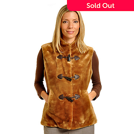 702-426 - Pamela McCoy Leather Patch Toggle Closure Faux Fur Vest