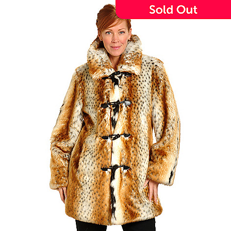 702-442 - Pamela McCoy Toggle Closure Lynx Faux Fur Reversible Storm Coat