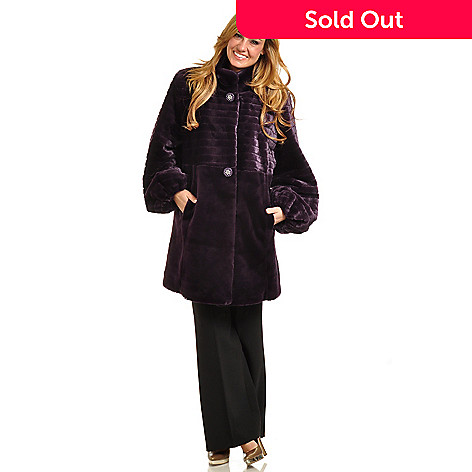 702-443 - Pamela McCoy Mandarin Collar Beaver Faux Fur Mid-Length Coat