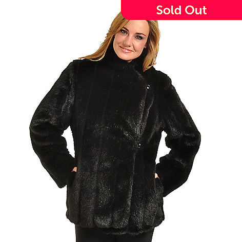 702-444 - Pamela McCoy Asymmetrical Front Black Tipped Mink Faux Fur Coat