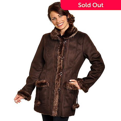 702-450 - Pamela McCoy Pique Stitched Faux Shearling & Mink Faux Fur Trimmed Jacket