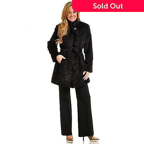 702-452 - Pamela McCoy Cascading Ruffle Tie-Front Persian Lamb Faux Fur Coat