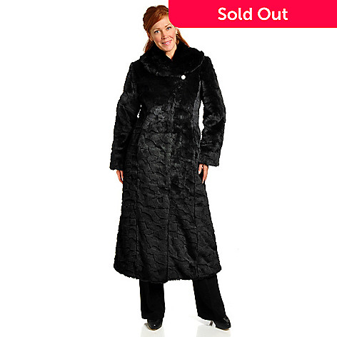 702-489 - Pamela McCoy Shawl Collared Full Length Cobbled Mink Faux Fur Coat