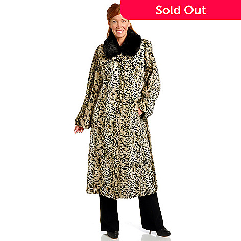 702-490 - Pamela McCoy Full Length Leopard & Mink Faux Fur Coat