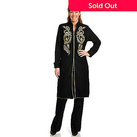 702-510 - VICTOR by Victor Costa Embroidered Boiled Wool Long Coat