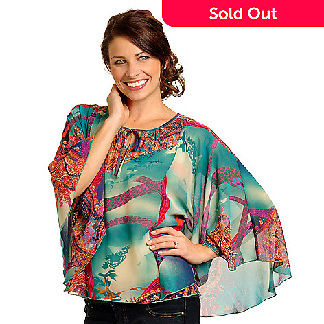 702-516 - Geneology Butterfly Sleeved Multi Color Print Woven Top