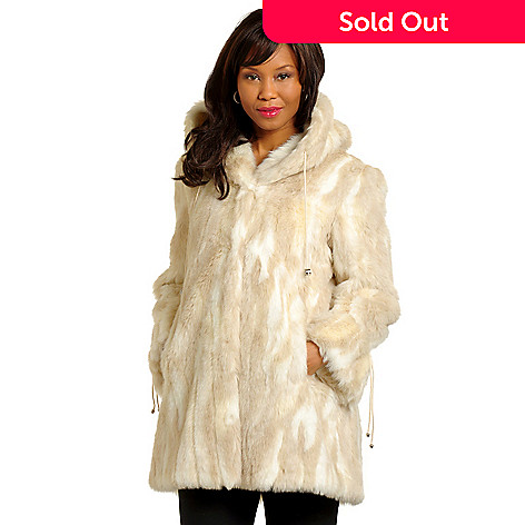 702-537 - Pamela McCoy Rhinestone Drawstring Hooded Mink Faux Fur Jacket