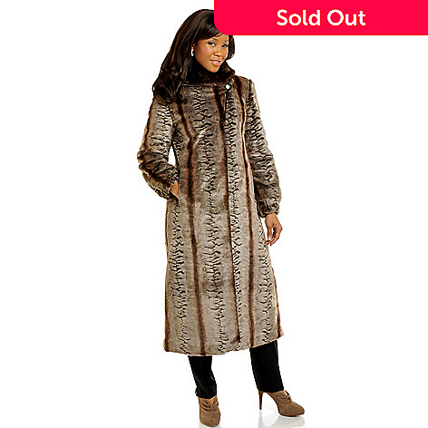 702-538 - Pamela McCoy Shawl Collared Full Length Chinchilla & Mink Faux Fur Coat