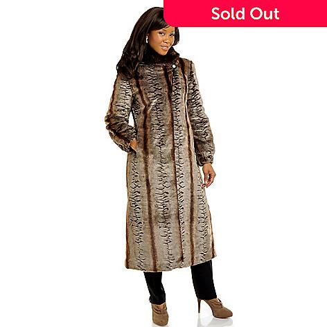 702-538 - Pamela McCoy Shawl Collared Full Length Chinchilla & Mink Faux Fur Coat