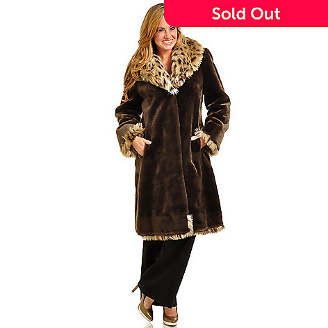 702-542 - Pamela McCoy Shawl Collar Spotted Lynx & Beaver Faux Fur Coat