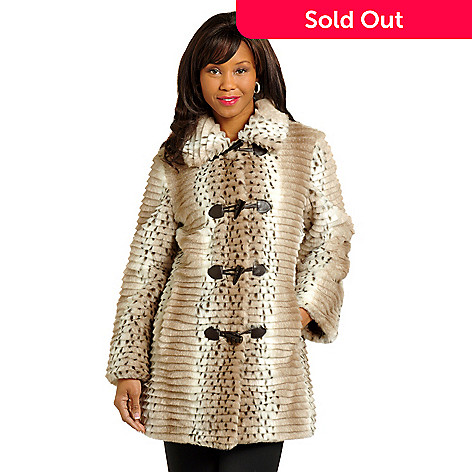 702-544 - Pamela McCoy Grooved Snow Leopard Faux Fur Reversible Toggle Jacket