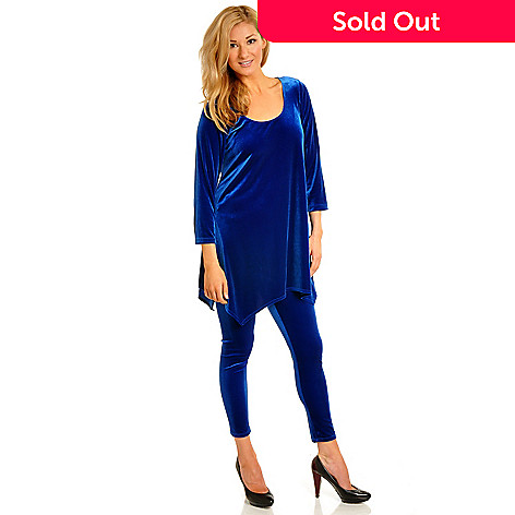702-556 - aDRESSing WOMAN 3/4 Sleeve Handkerchief Hem Stretch Velvet Tunic & Leggings