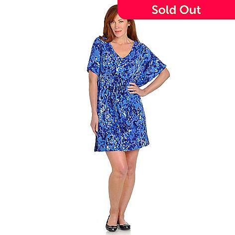 702-600 - aDRESSing WOMAN Butterfly Sleeve Drawstring Waist Mid-Length Knit Dress