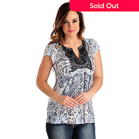 702-638 - One World Micro Jersey Knit Flutter Sleeved Crochet Bib Top