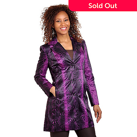 702-651 - Pamela McCoy Notched Collar Python Print Water Resistant Satin Jacket