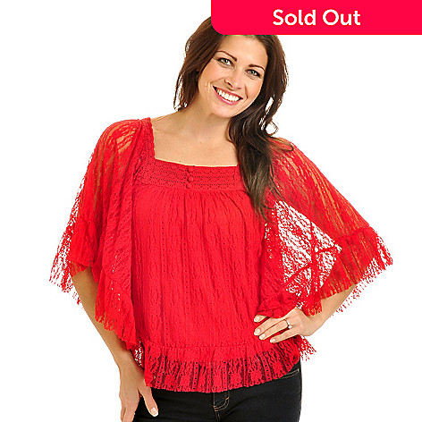 702-654 - Geneology Stretch Lace Butterfly Sleeved Crochet Trim Body Lined Top