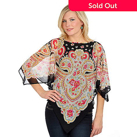 702-671 - Kate & Mallory Wide Neck Paisley & Floral Printed Chiffon Top