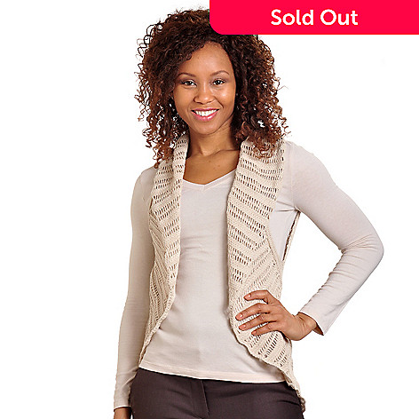 702-677 - Kate & Mallory Open Front Cotton Crochet Vest
