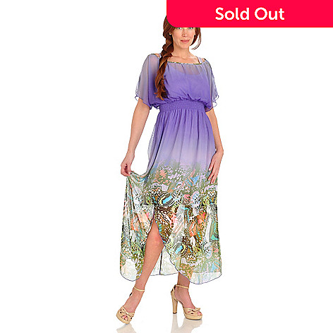 702-688 - One World Butterfly Motif Woven Ombre Maxi Dress