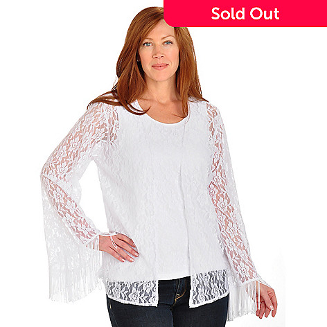 702-705 - Kate & Mallory Open Front Fringe Detailed Lace Cardigan & Tank Set