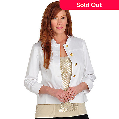 702-719 - Love, Carson by Carson Kressley 3/4 Length Ruched Sleeve Sateen Jacket