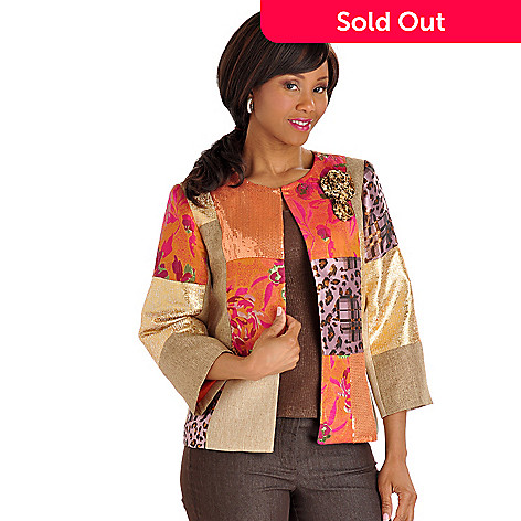 702-730 - Celestial Blue Sequin & Patchwork Woven Jacket