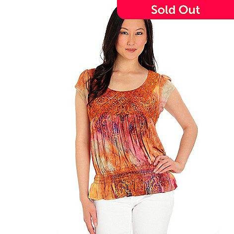 702-742 - One World Micro Flutter Sleeve Applique Front Tie-dyed Top