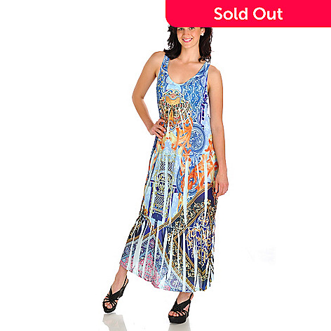 702-750 - One World Butterfly Detail Printed Mesh Maxi Dress