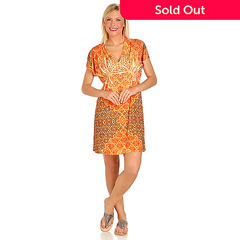 702-754 - One World Printed Knit Kimono Sleeve V-Neck Flip Flop Dress