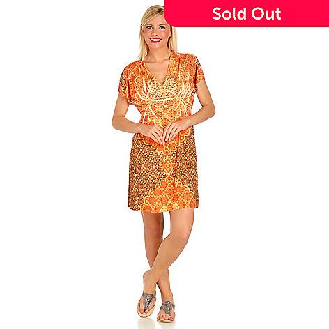 702-754 - One World Printed Knit Kimono Sleeve V-Neck Flip Flop Dress