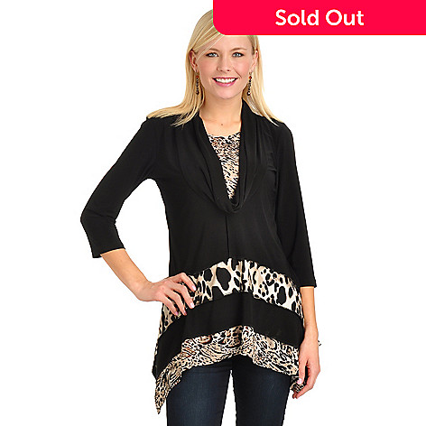702-758 - aDRESSing Woman Hi-Lo Hem Cowl Neck Animal Print Knit Top