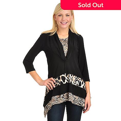 702-758 - aDRESSing Woman Hi-Lo Hem Cowl Neck Animal Print Knit Top