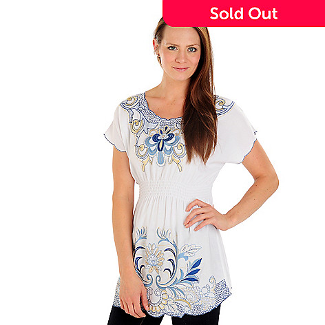 702-770 - Kate & Mallory® Elastic Waist Embroidered Woven Top