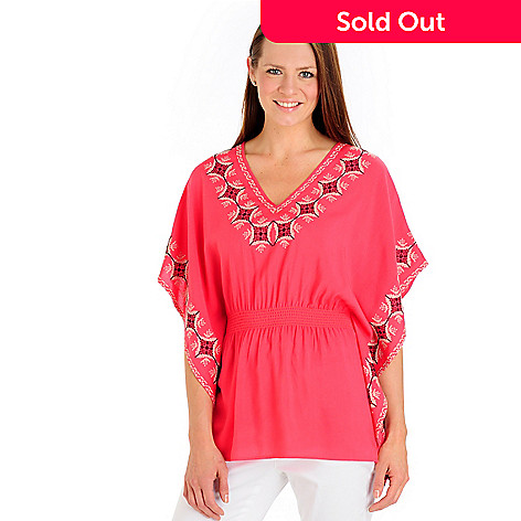 702-771 - Kate & Mallory® Butterfly Sleeve Elastic Waist Embroidered Woven Top