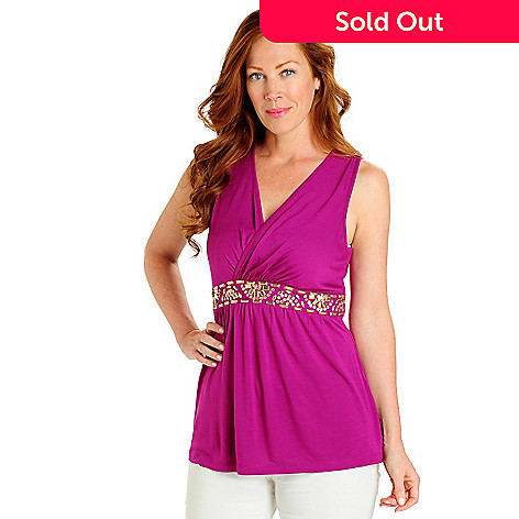 702-795 - Love, Carson by Carson Kressley Solid Knit Crossover V-Neck Beaded Tank Top