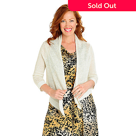 702-801 - Love, Carson by Carson Kressley Metallic Yarn Drape Front Cardigan Sweater