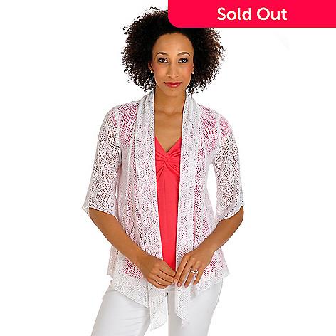 702-809 - Geneology Crochet 3/4 Sleeved Open Front Cardigan Sweater