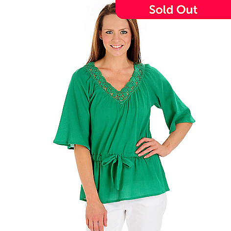 702-824 - OSO Casuals™ Cotton Gauze 3/4 Sleeved Drawstring Waist Crochet Trim Top